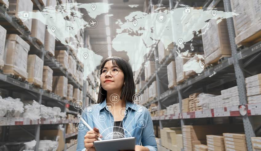 Woman in supplier inventory.